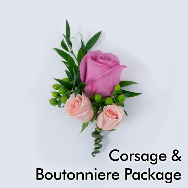 bright wedding corsage  boutonniere package  martin's specialty, Natural flower