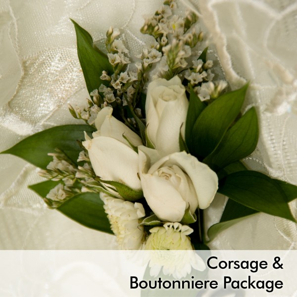 White wedding corsage boutonniere package martins specialty white wedding corsage boutonniere package mightylinksfo Image collections