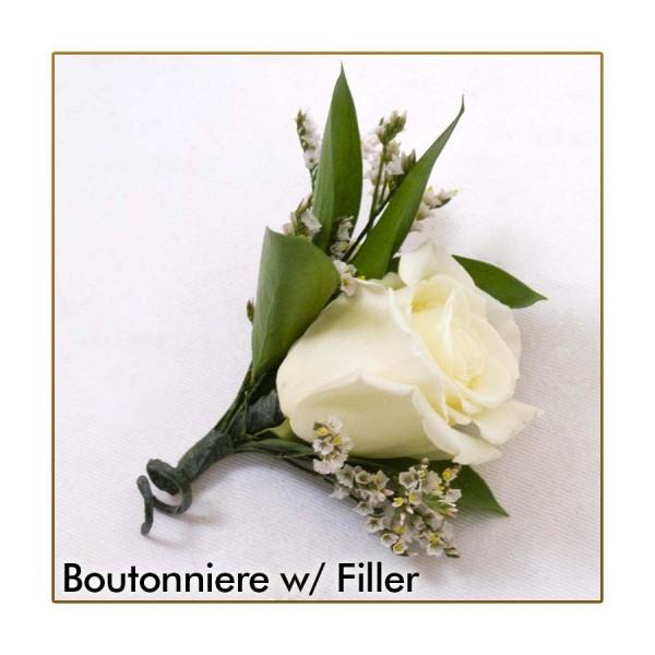 white wedding corsage  boutonniere package  martin's specialty, Natural flower