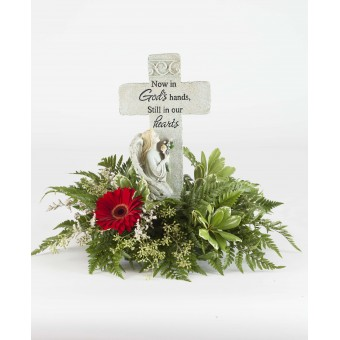 Simple Sentiments Cross Foliage Arrangement