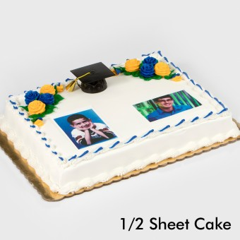 Graduation Floral Two Portraits Cake