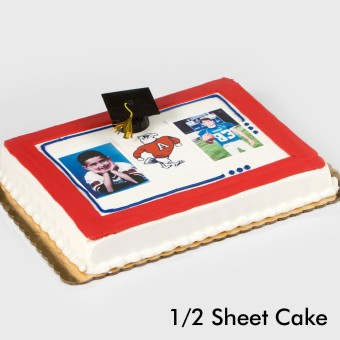 Graduation Bordered Two Portraits & Mascot Cake